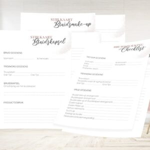 Checklisten bruidsstylisten webshop